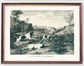 Hunting Dogs Art Prints Pheasant and Partridge Hunting Illustrations Vintage Hunt Wall Art - Set of Two
