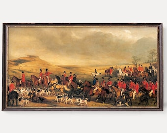 Fox Hunting Print | Vintage Hunting Wall Art | English Hunt Scene with Hunters,Horses and Dogs |  Antique Victorian Sport Illustration