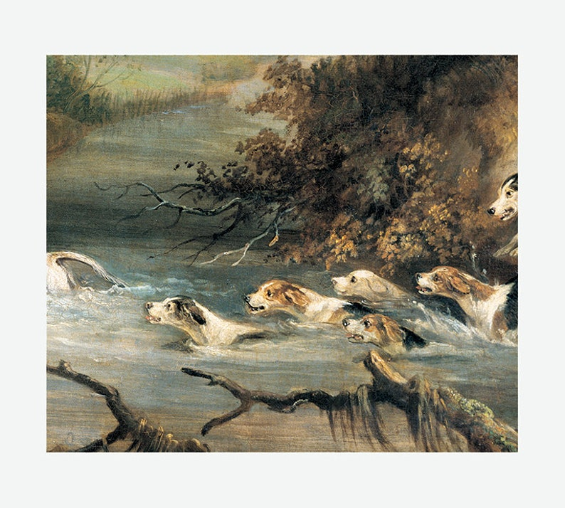Fox and Hounds Fox and Dogs Illustration Fox Hunting Art Print English Vintage Hunt Wall Art