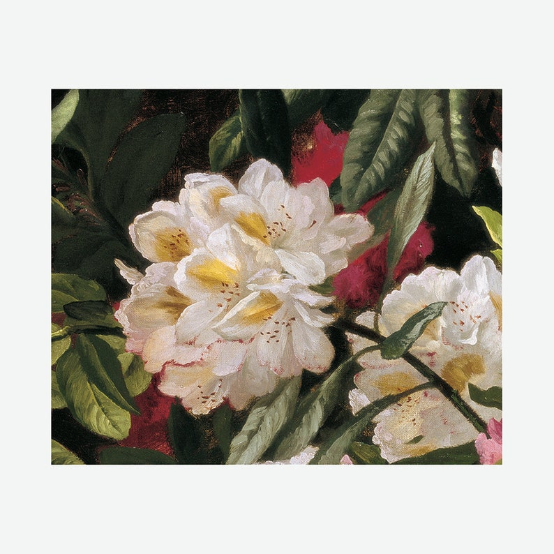 Flower Bouquet Painting Rhodendondrons Wall Art Still Life French Artist