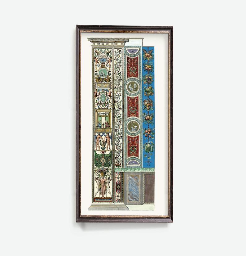 Classic Art Print Fresco in Rome Raphael Loggia Prints Neoclassical Wall Art Ornamental Panels Raffaello Sanzio