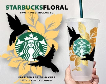 Starbucks Hummingbird Floral Design | Presized for Cold Cup | Custom Gift | SVG PNG | Spring | Starbucks Coffee