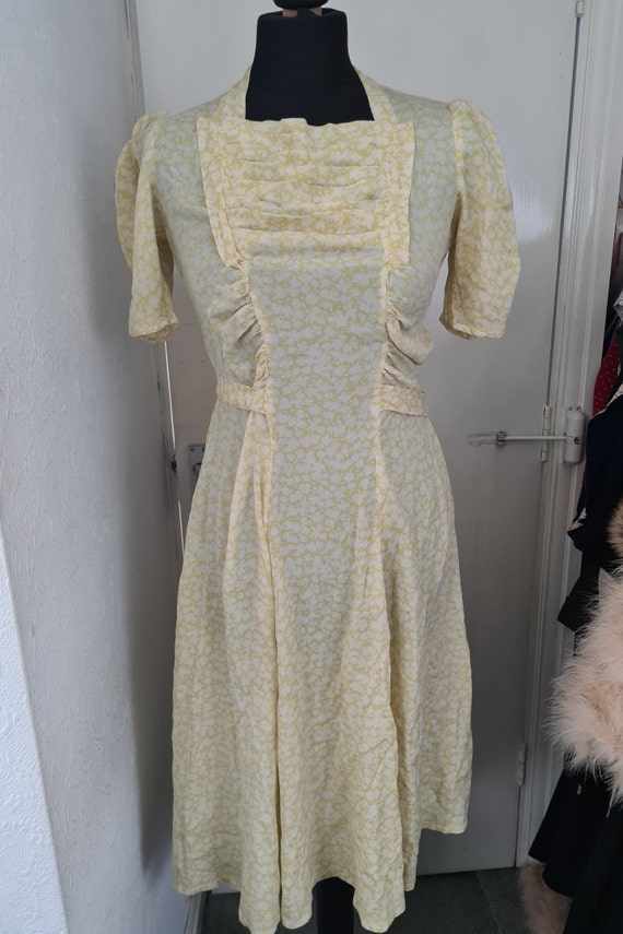 True Vintage 1930's Lemon Yellow Floral Silk Dress