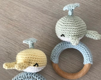 Baby rattle, gripping ring / gripper, bite ring - crocheted whale