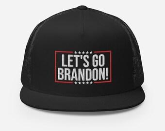 Lets Go Brandon Flat Bill Trucker Hat - F Joe Biden Chant Hat