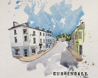 Cushendall original watercolour and ink painting on a4 350gsm watercolour paper