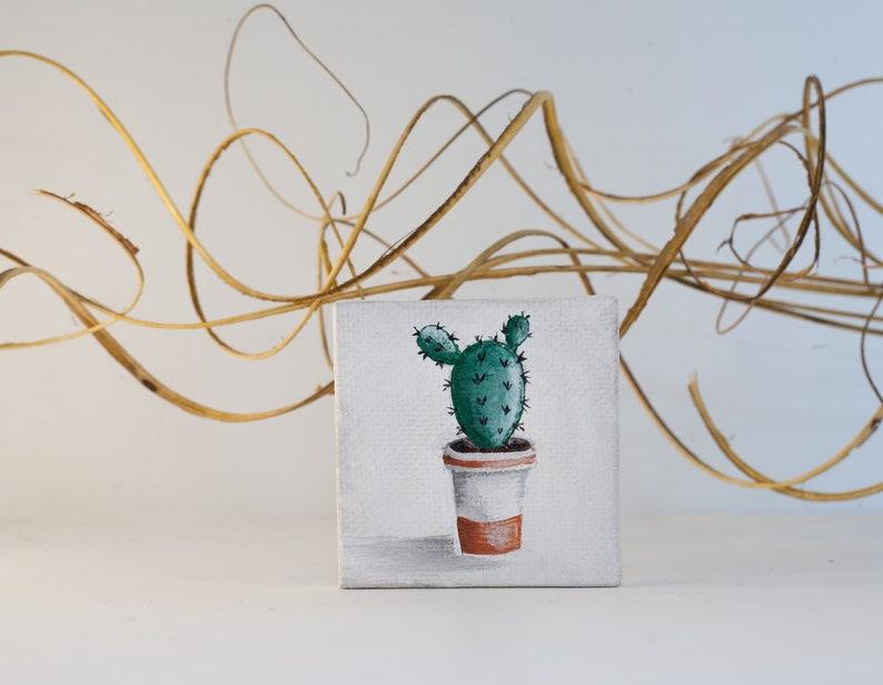 Mini cactus painting Tiny 2x2 botanical canvas Collectable miniature painting, Cactus miniature painting Potted succulent boho painting