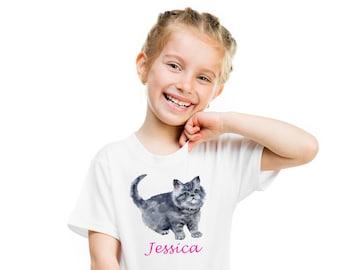 Personalised Kids T Shirt, Gift For Kids, Cat Lover Gift, Gift For Girl