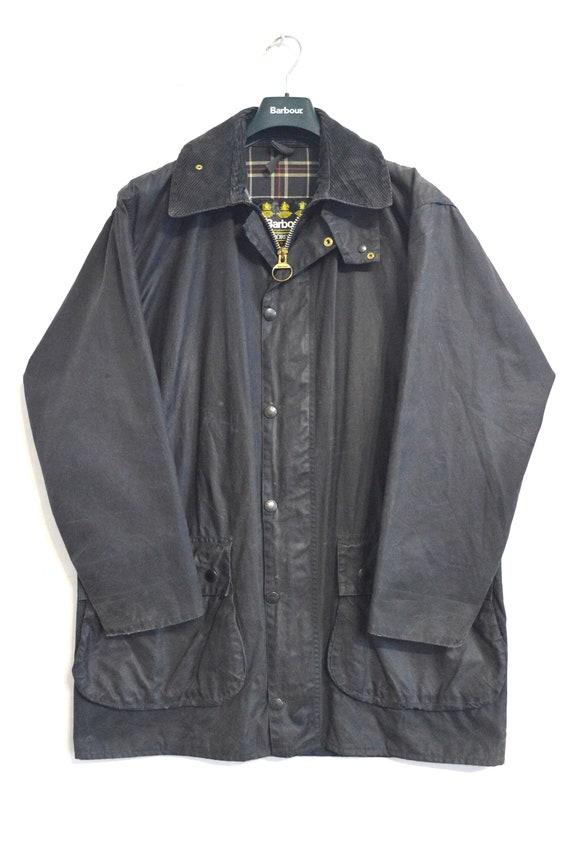 Vintage Barbour Border Waxed Jacket Navy Size Men'