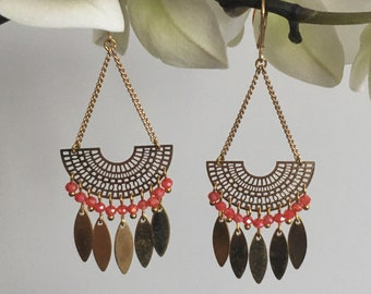 LOUISE, gold earrings, hanging circle bow lined with multiple orange beads and gold feathers
