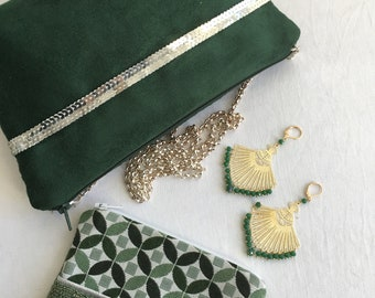 Small silver sequin bag in green suede and removable silver chain, fully lined