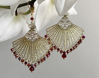 ZELIE, imposing clip or dorm earrings, gold fan print lined with multiple small faceted colored beads