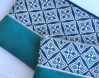 Philothea pouch in turquoise geometric jacquard, turquoise suede and silver piping