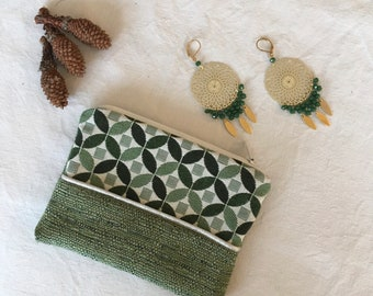 Mini Philothea clutch in graphic green jacquard and faux green unis, lined with white canvas