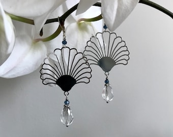 AGLAE silver earrings agates color and crystal drop adaptable on clips