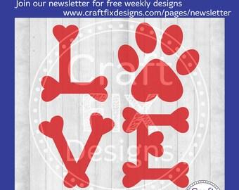 Dog Love Valentine SVG, Dog Bone Love, Pet Lover Cutting File for Cricut or Silhouette, SVG, png, DXF, eps, pdf