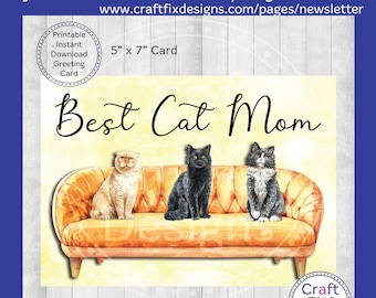 Best Cat Mom Greeting Card, Printable Multiple Cat Mother's Day Card 5x7, Instant Download, Watercolor Card, Digital Download, Cats on Couch