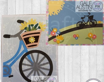 Spring Bike Bicycle Greeting Card Resizable Cutting File for Cricut and Silhouette SVG DFX, Easter Card