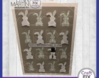 """Bunny 5"""" x 7"""" Greeting Card Multiple Sentiments and Accessories, Greeting Card Cutting Machines SVG DFX EPS, Easter Card for her, Cricut"""