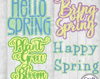 Spring Words Bundle Resizable Cutting File for Cricut and Silhouette SVG DFX for greeting cards and scrapbooks