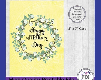 Printable Mother's Day Card 5x7, Willow Frame Mother's Day Greeting Card, Instant Download, Watercolor Floral Card, Digital Download Card