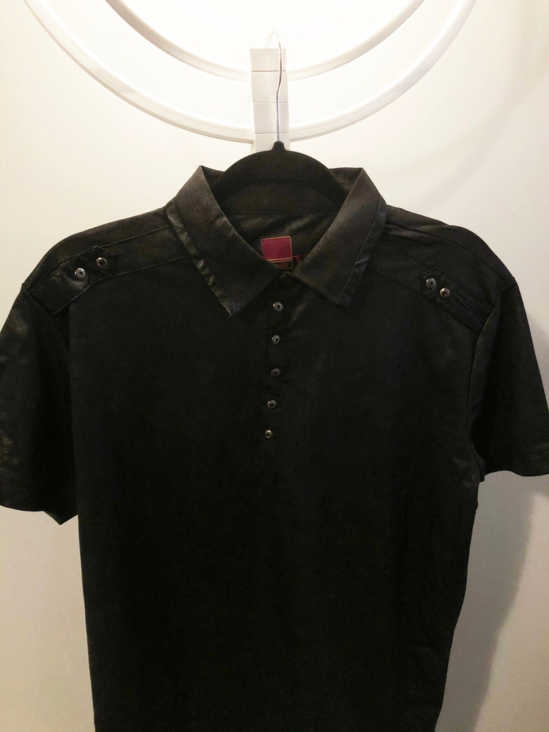 Throwback Leather Look Polo Shirt 80s Goth Rock /& Roll Size