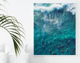 Bronte Beach Wall Art Print, Perfect for Guest Room, Surfers Ocean Poster, Textured Art, Bondi Beach Poster, Australia Traveler, Tranquil
