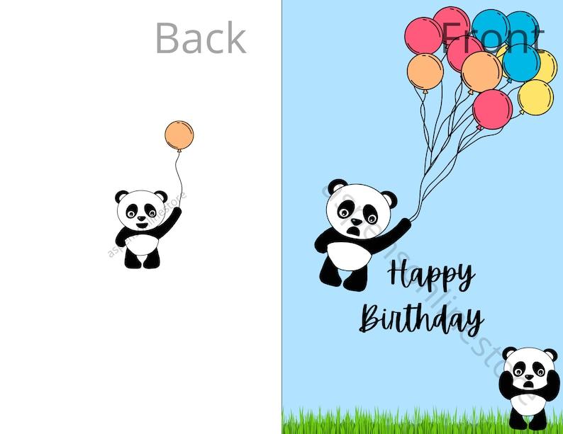 birthday card with ballons cute panda card birthday card with pandas ballons panda card Happy Birthday card