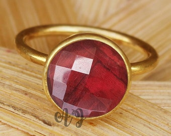 Ruby Hydro Quartz 10mm Round Checker Cut 925 Sterling Silver Bezel Setting Gold Plated Ring-Birthday Gift for Her Round Ruby Ring Round Ring