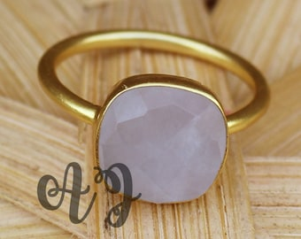 Natural Rose Quartz 10mm Cushion Square Checker Cut 925 Sterling Silver Bezel Setting Gold Plated Ring-Natural Stone Ring Rose Quartz Ring