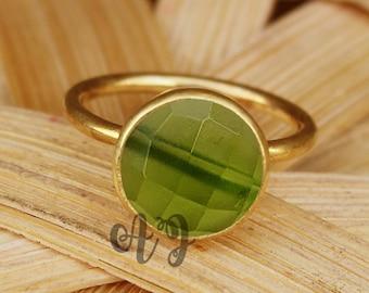 Peridot Hydro Quartz 10mm Round Checker Cut 925 Sterling Silver Bezel Setting Gold Plated Ring-Beautiful Ring Peridot Ring Round Rings