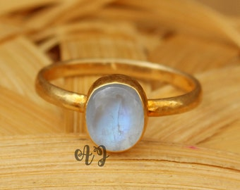 Natural Rainbow Moonstone 9x12mm Oval Cabochon 925 Sterling Silver Bezel Setting Gold Plated Ring-Beautiful Natural Rainbow Moonstone Rings