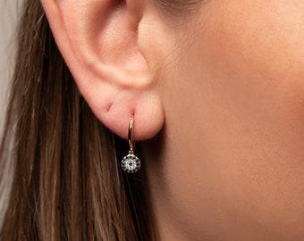 Hoops Earring,Huggies Earrings,Dangle Earring Blue Kyanite Sterling Silver Hoop Earring Gift For Her Gift For Mom  Wife Sister