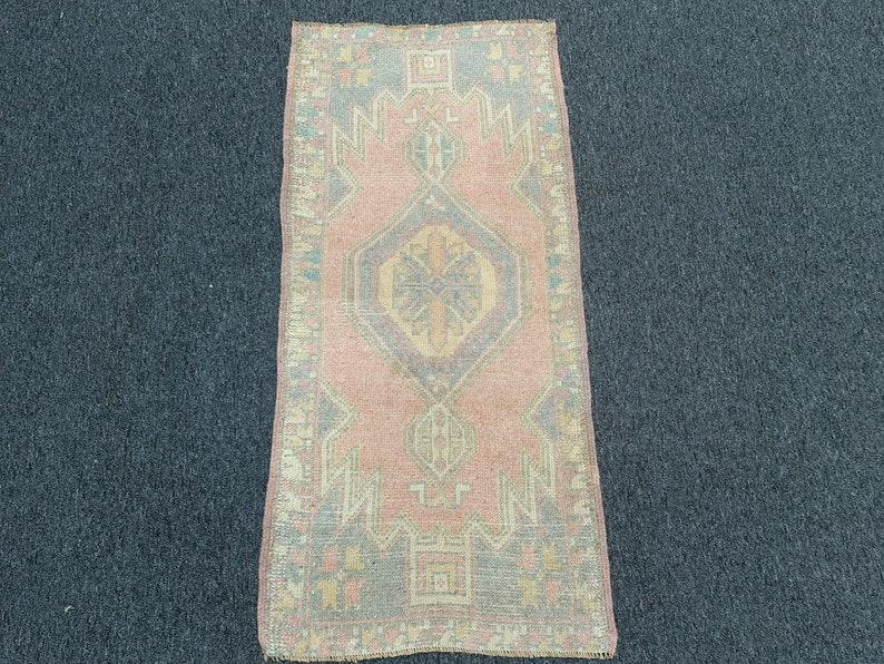 Antique rug No:SR016 Handwoven rug  1.8x3.8 ft Area rug Pale Red-based color  Turkish small area rug Vintage rug Oushak rug Natural dye