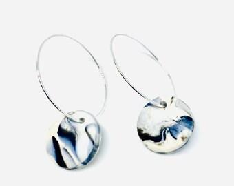 Marble clay hoop earring