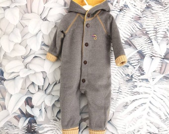 Wool winter overall WARM LINED, size 50-56, 62-68, 74-80, 86-92, 92-97, 104 grey beige minimalist simple sustainable stylish