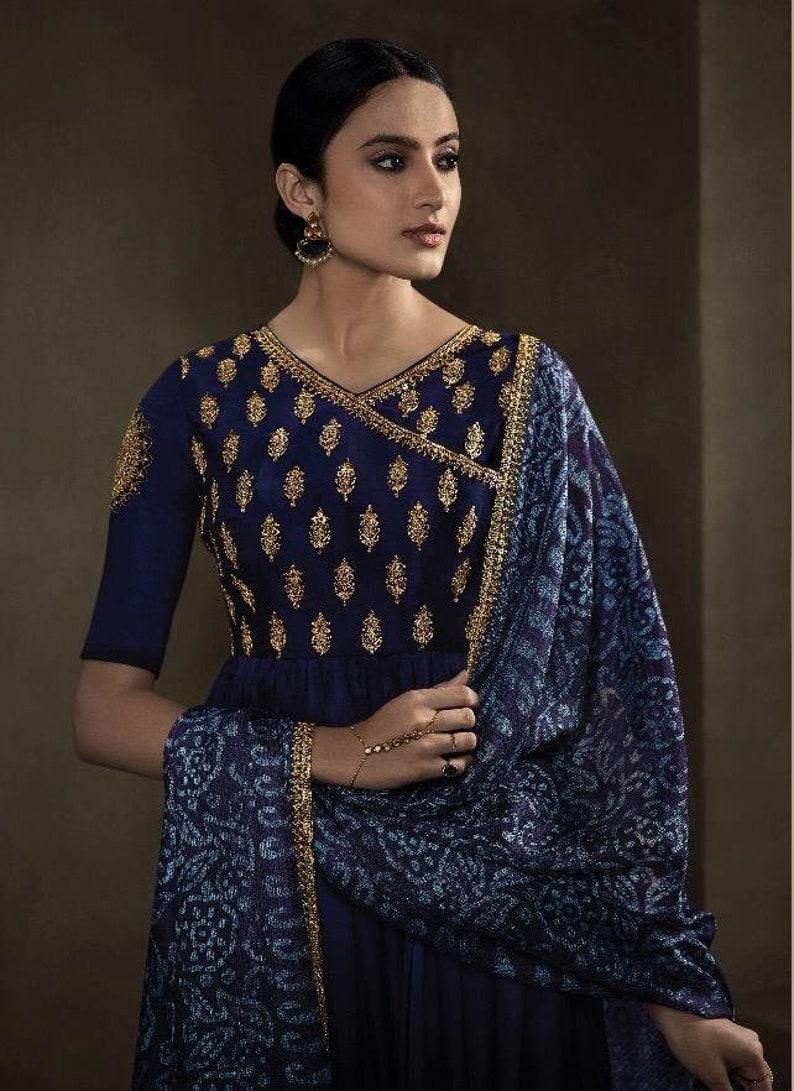 Blue Color Anarkali Suit Gown Party Wear Collection Pakistani Style Dress Indian Dresses