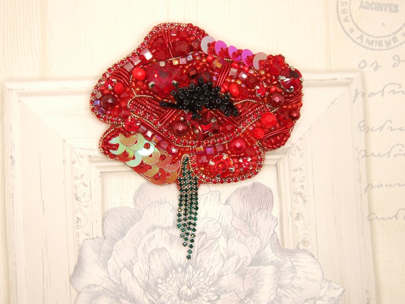 handmade accessories unique present Red poppy brooch embroidered jewellery Embroidered beaded brooch