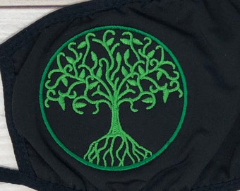 Embroidered Celtic Circle Tree of Life Face Mask, Washable, Black or White - Celtic Mask for Adults or Kids - Machine Washable