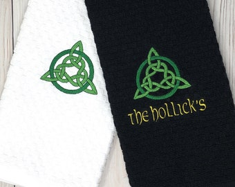 Celtic Knot Waffle Towel, Embroidered Kitchen Towel - Personalized Celtic Knot Towel - Machine Washable
