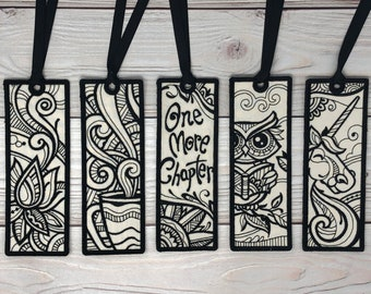 Collection #1, Embroidered Bookmark,  Zen Bookmark, Gift for Readers, Lotus, Coffee, One More Chapter, Owl, Unicorn