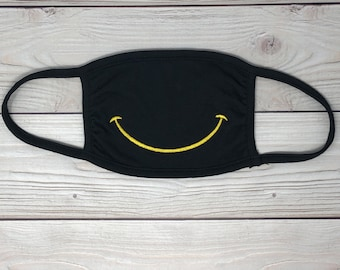 Embroidered Smiley Face Mask, Washable, Black - Cute Smiley Mask for Adults or Kids - Machine Washable