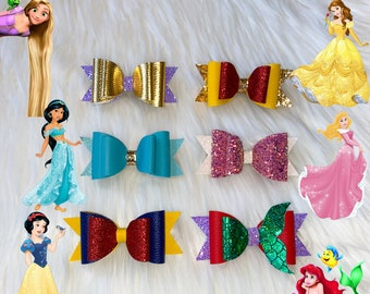 Ariel Inspired Inspired 4 Double Layer Hair Clip Hair Accessories for Girls Disney Princess Bow