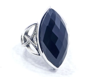 Black Onyx ring Faceted Black Onyx statement Ring handmade ring solid sterling silver ring gemstone ring A825