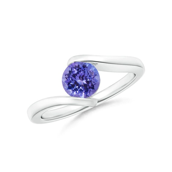 Bar-Set Solitaire Round Tanzanite Bypass Ring-925 Sterling Silver Ring-Gemstone Ring-Tanzanite ring-Natural Tanzanite Handmade Ring-for Gift