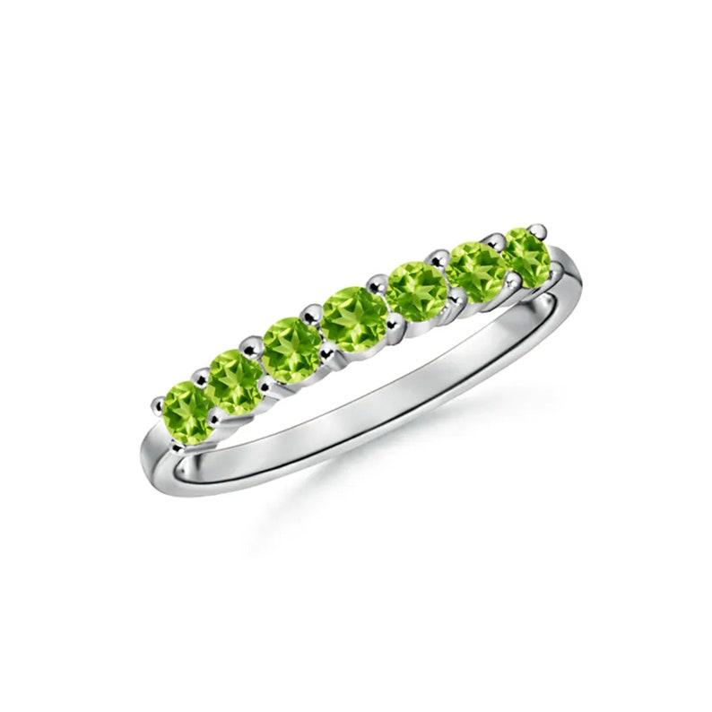 Half Eternity Seven Stone Peridot Wedding Band-925 Sterling Silver Ring-Gemstone Ring-Peridot ring-handmade ring-Natural Peridot-for Gift