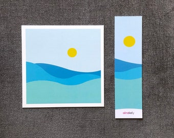 Abstract landscape postcard and bookmark