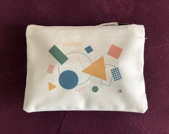 Cotton and geometric pattern pouch, woman pouch