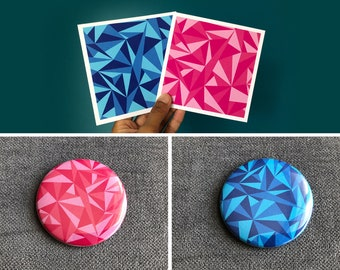 Set of geometric postcards and magnets