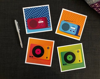 Set of music postcards